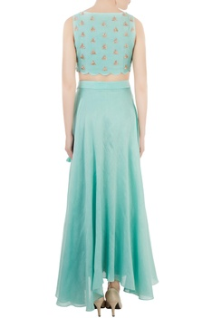 Blue crop top with embellished border skirt-layer palazzos