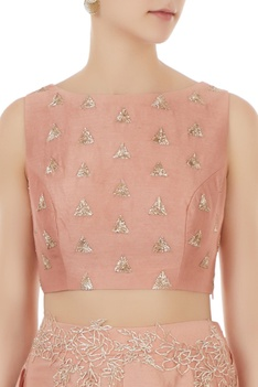 Onion pink chanderi crop top with flared palazzos