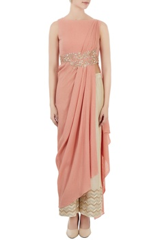 Rust pink draped style tunic with palazzo pants
