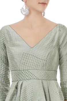Green chanderi hand block printed asymmetric top with sharara