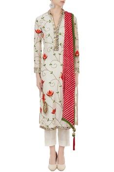 Off white chanderi thread & mirror work kurta