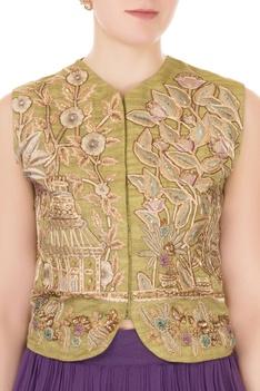 Olive silk zardozi & zari embroidered jacket with purple georgette skirt & dupatta