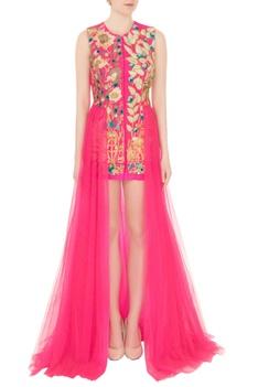Pink satin dori & resham embroidered gown