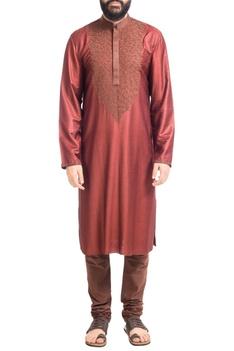 Maroon hand embroidered muga dupion silk kurta with churidar