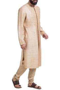 Beige muga dupion silk embroidered kurta with churidar