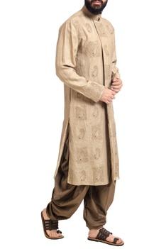 Beige linen machine embroidered kurta with patiala pants