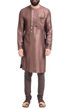 Dark brown muga dupion silk kurta with churidar
