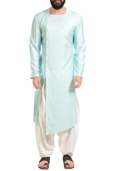 Aqua blue muga dupion silk kurta with patiala pants