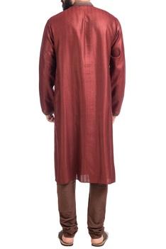 Maroon muga dupion silk kurta with churidar