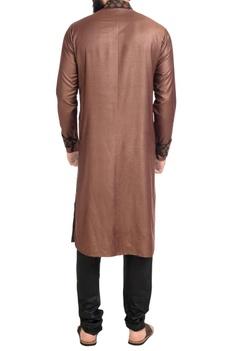 Brown embroidered high collar kurta with churidar