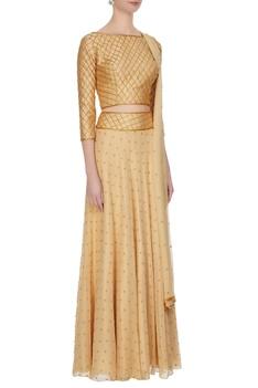 Beige georgette, chiffon & silk bead embellished lehenga with blouse & dupatta