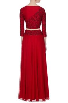 Red georgette, chiffon & silk dori work & bead embellished lehenga with blouse & dupatta