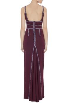 Wine stretch fabric diamond pattis gown