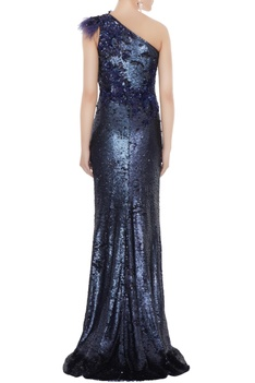 Navy blue sequin fabric one-shoulder sheath gown