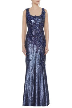 Navy blue sequin fabric applique work sheath gown