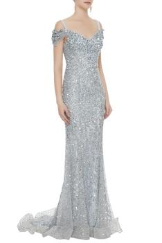Silver net sequin cold-shoulder sheath gown