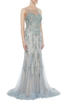 Silver net stone work sheath gown