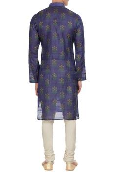 Dark blue tussar & cotton silk floral print  kurta
