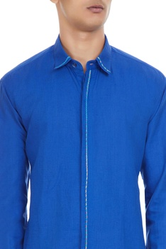 Royal blue linen long sleeve shirt