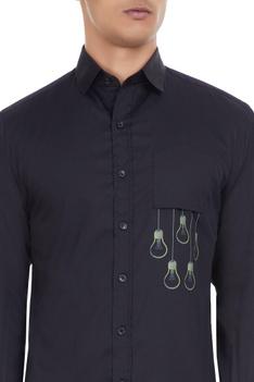 Black cotton shirt with 'hanging bulb' print