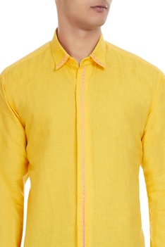 Yellow cotton button down shirt