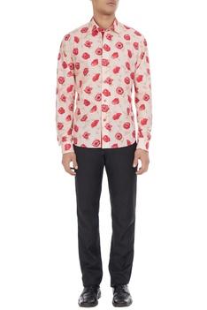 Beige cotton shirt in pink rose print
