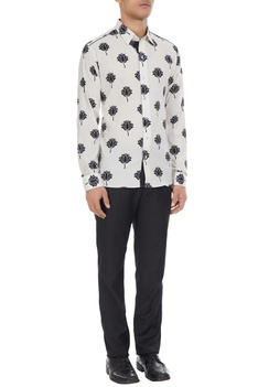 Black & white lotus printed pure cotton long sleeve shirt