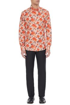 White & orange pure cotton floral printed long sleeve shirt
