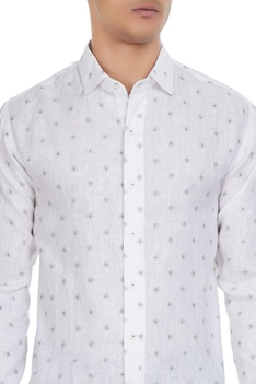 White linen micro-printed long sleeves shirt