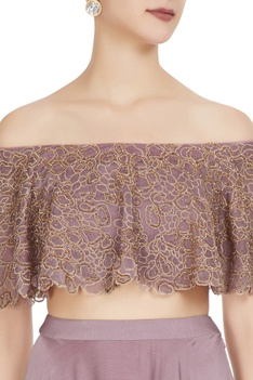 Mauve organza chiffon off-shoulder blouse with lehenga & dupatta