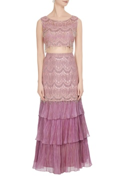Pink & mauve  lace & frill scalloped fringed blouse with fish tail lehenga