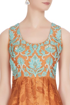 Orange cotton satin printed tunic with blue floral embroidery