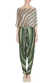 Beige cotton satin printed off-shoulder striped blouse