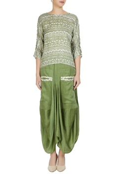 Green linen silk tribal printed boxy blouse
