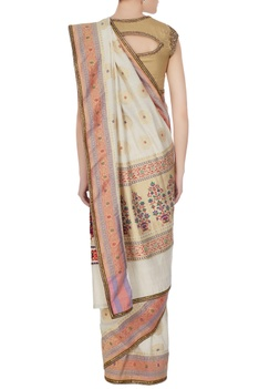 Gold handwoven jacquard saree with unstitched blouse