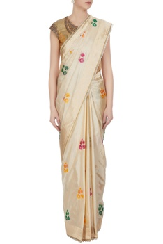 Ivory handwoven jacquard saree with floral motifs & tassels & unstitched blouse