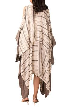 Ivory check asymmetric dress