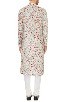 Off white cotton silk embroidered kurta with cotton lycra churidar