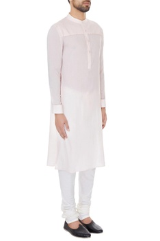 Light pink cotton solid kurta with cotton lycra churidar