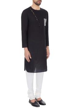 Black cotton print details kurta with off white cotton silk churidar