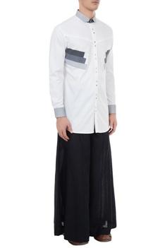 White poplin applique shirt