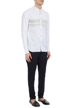White cotton linen liberty print shirt with jersey sleeves