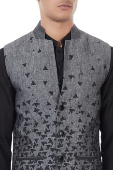 Grey linen melange scattered print bundi