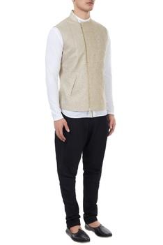 Beige tweed linen zippered bundi