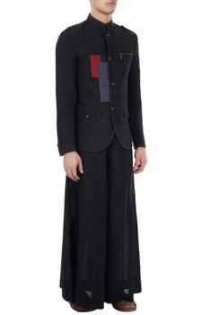 Black linen color-blocked & applique work bandhgala
