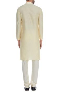 Yellow minimal cotton silk kurta with churidar