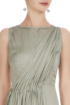 Mint green satin modal pleated jumpsuit