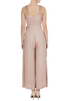 Blush pink satin modal cascade jumpsuit