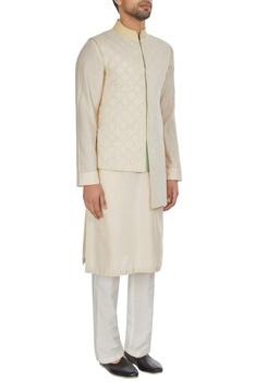 Ivory chanderi textured high-low bandhi jacket
