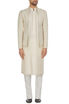 Ivory chanderi front open bandhgala jacket